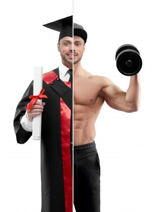 Photo comparison of university's graduate and fitnesstrainer outlook. Student wearing black and red graduation gown, keeping diploma. Bodubuilder holding heavy dumbbell, wearing black trousers, cap.
